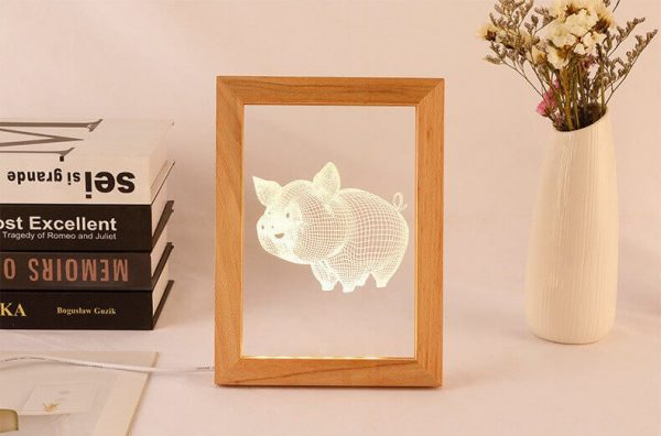 laser led light wood picture frames night lamp