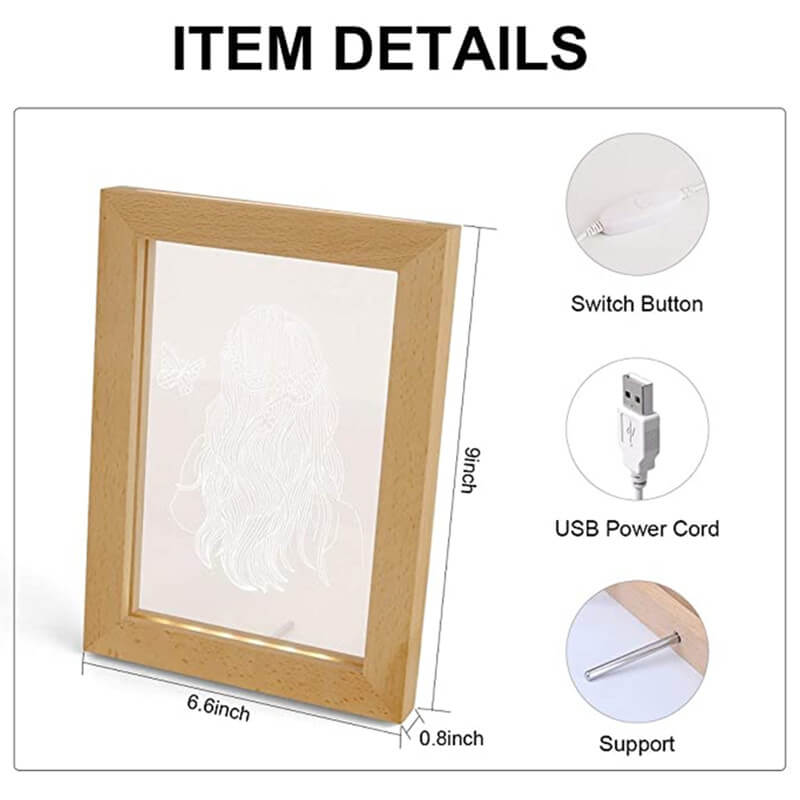 night light online wood photo frame light