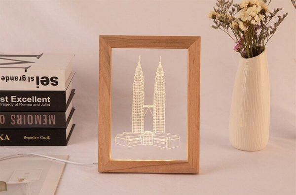 wooden picture frames cheap led light in 3d laser