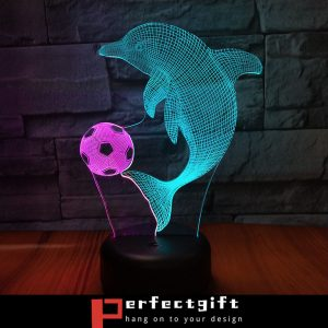 dolphin playing football night light for kids room decoration